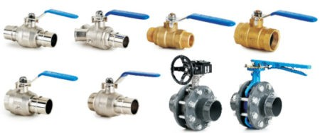 Ball and butterfly valves available with BSP thread, flange and quick-connect connector types