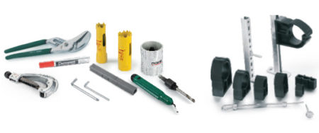 Tools and fixing accessories, suitable for various pipe systems